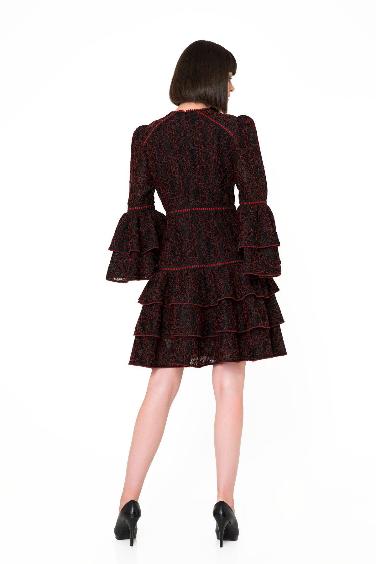 Fırfır Detaylı Dantel Siyah Mini Elbise