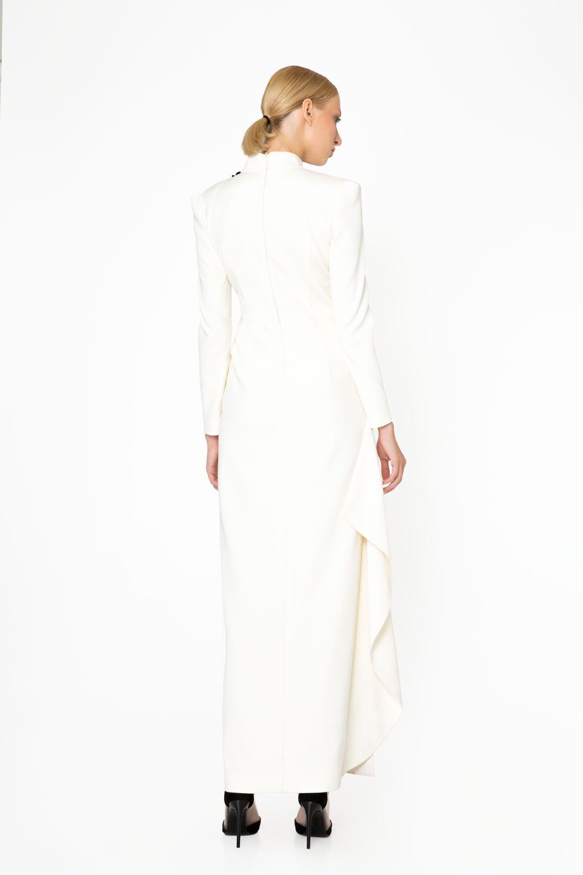 Nakış ve Taş İşleme Detaylı Uzun Kollu Ekru Abiye Elbise