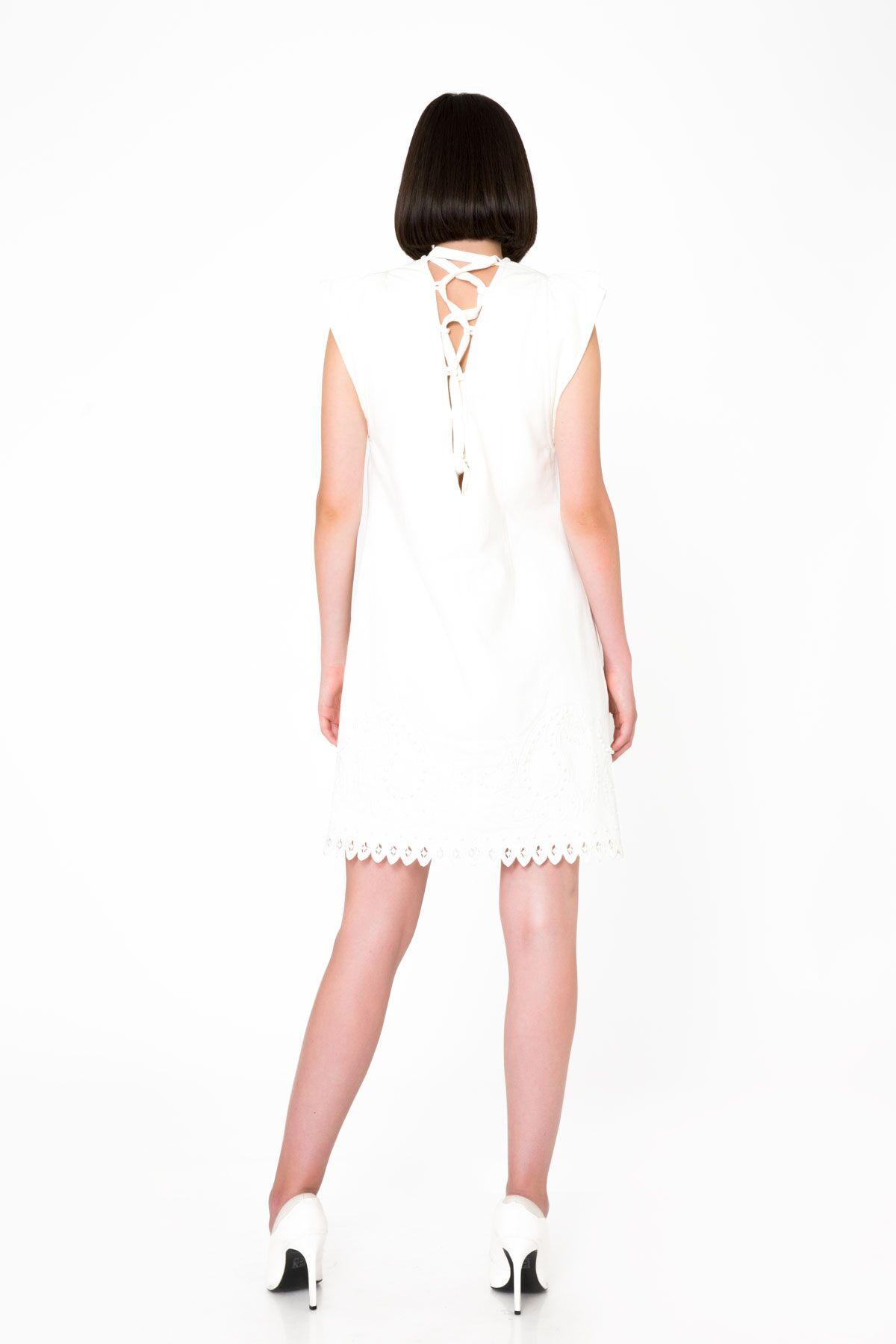 A Form Nakış İşlemeli Beyaz Mini Denim Elbise