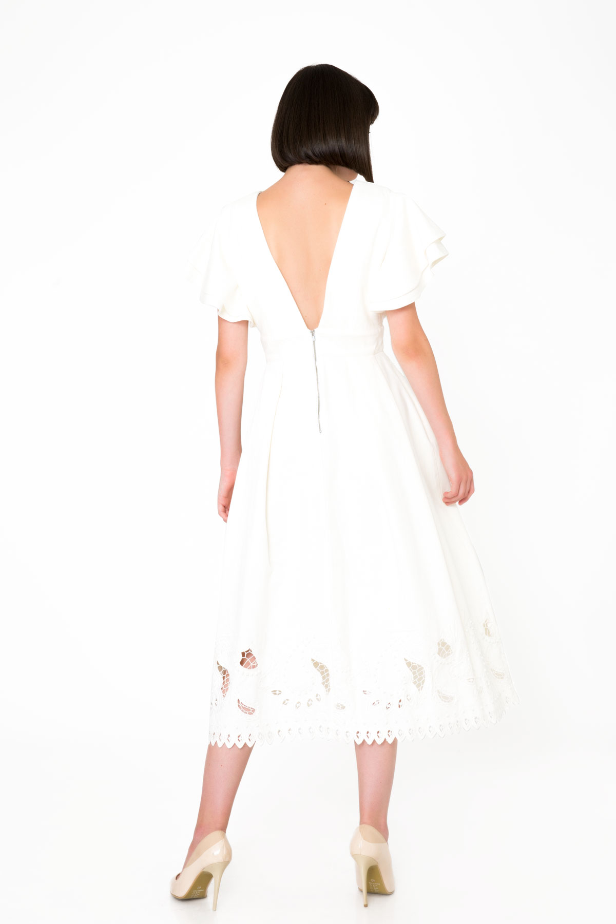 V Yaka Nakış İşlemeli Midi Ekru Denim Elbise