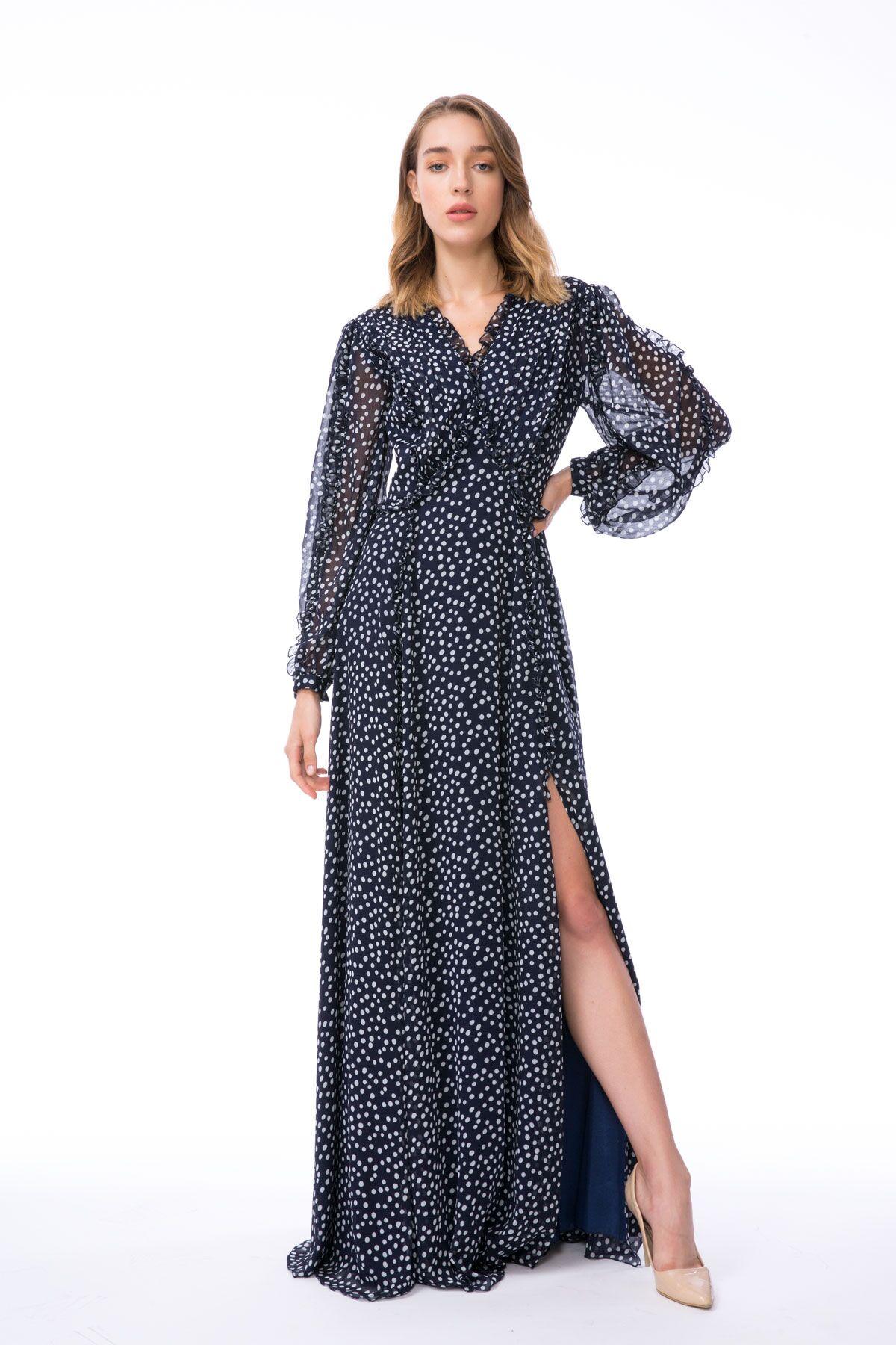 Fırfır Detaylı Uzun Lacivert Şifon Elbise