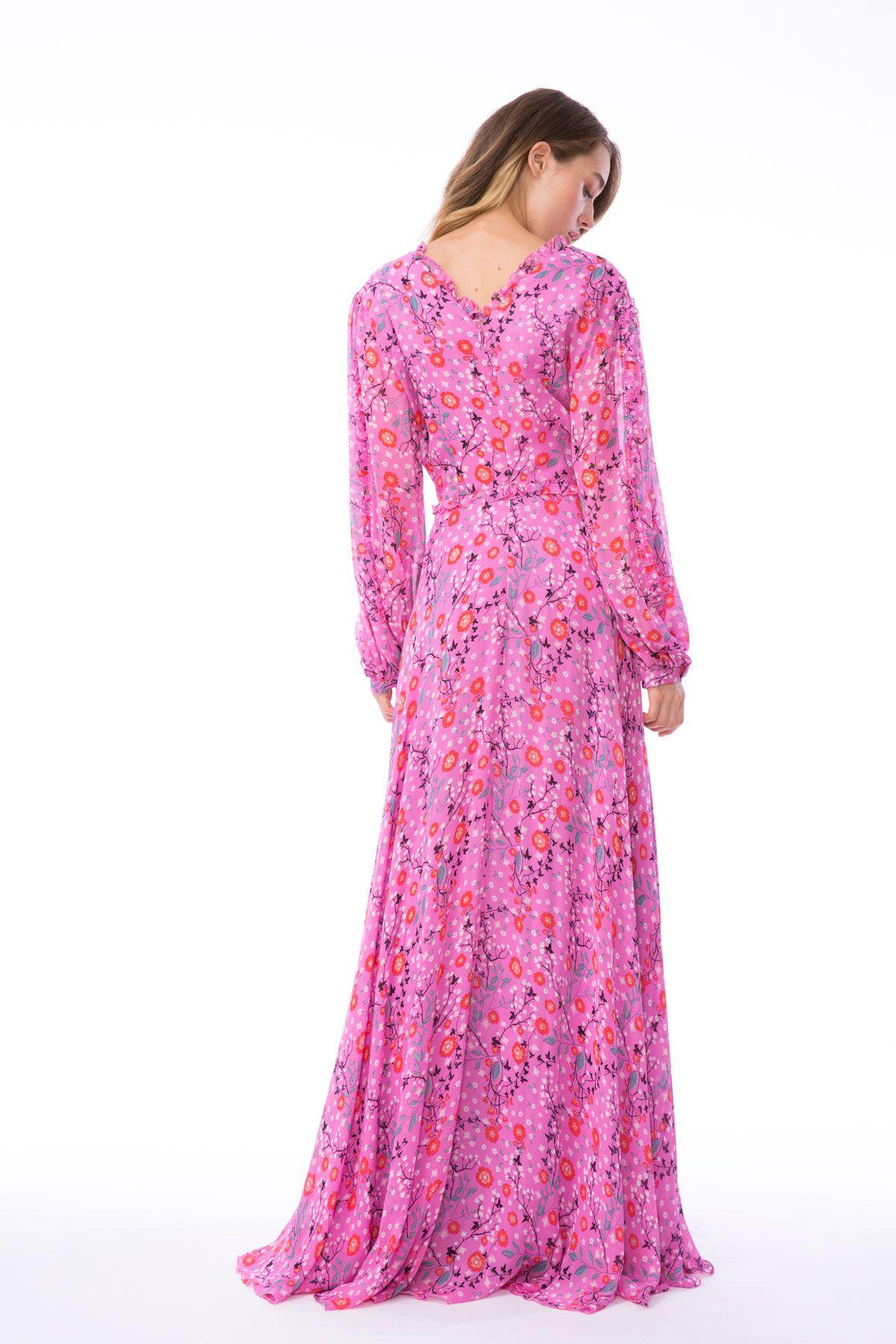 Fırfır Detaylı Uzun Pembe Şifon Elbise