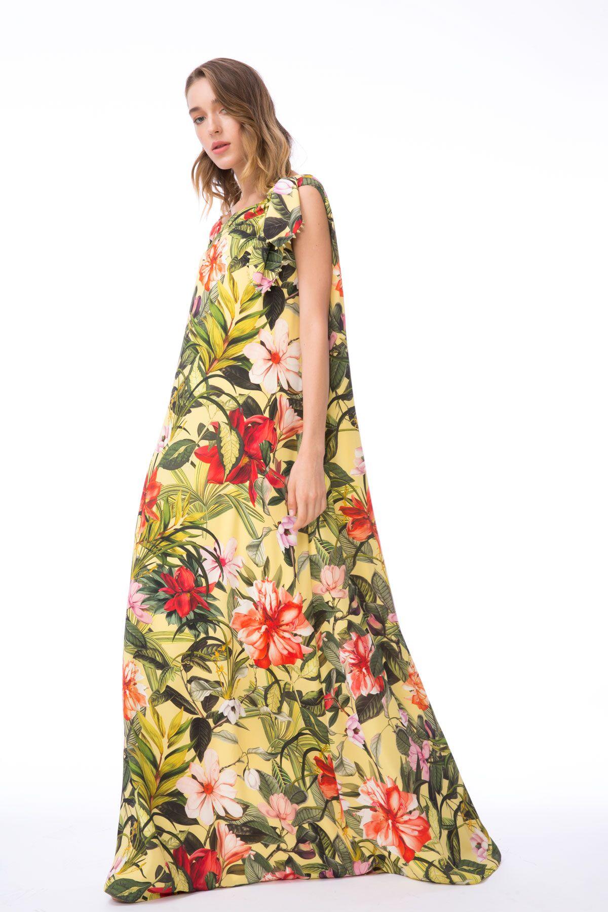 Omuz Bağlamalı Çiçek Desenli Tek Kol Uzun Elbise
