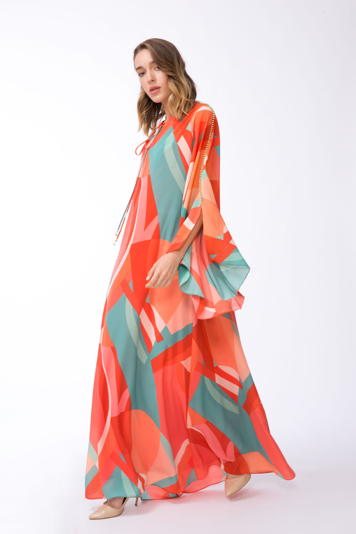Karışık Renkli Desenli Uzun Elbise