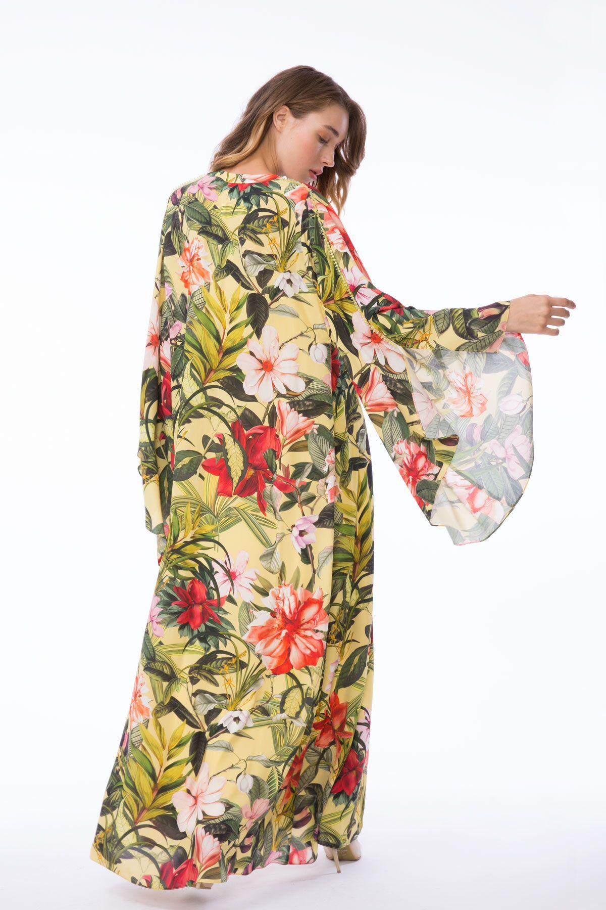 Uzun Kollu Çiçek Desenli Uzun Elbise