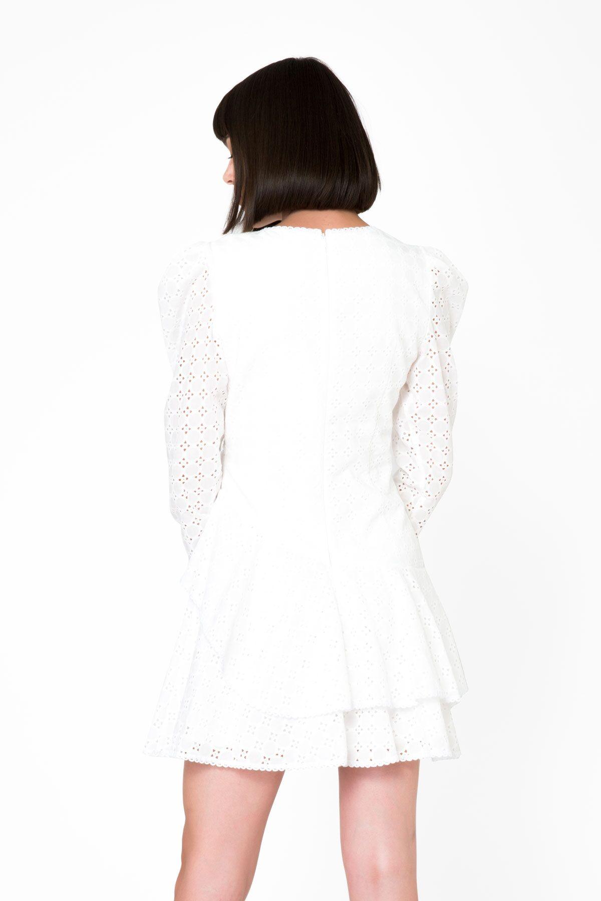Uzun Kollu Ekru Mini Dantel Elbise