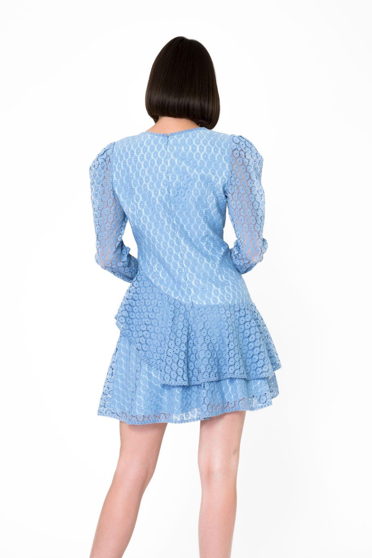 Uzun Kollu Mavi Mini Dantel Elbise