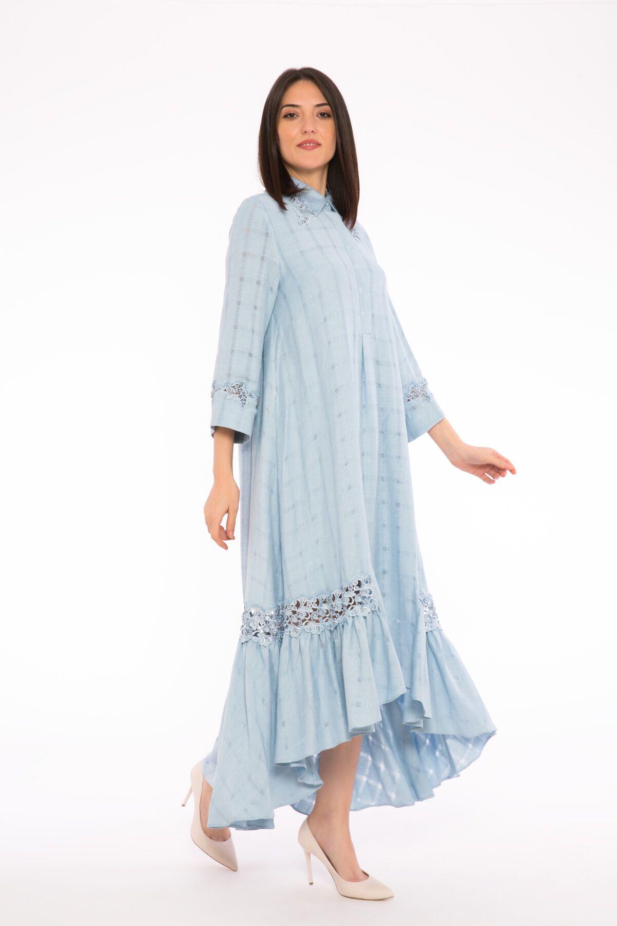 Önü Kısa Arkası Uzun Dantel Ve İşleme Detaylı, Uzun Kollu Elbise