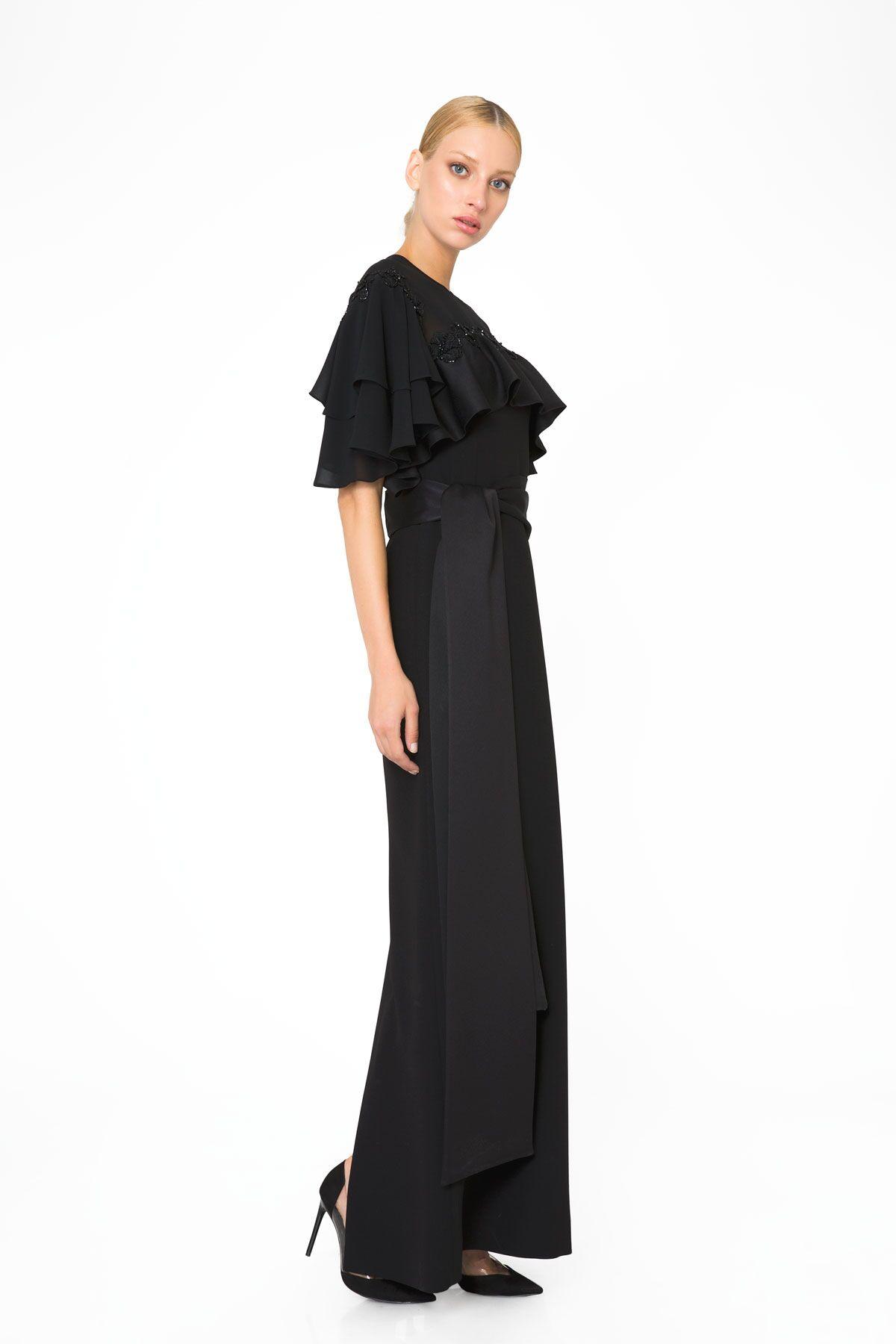 Şifon ve Dantel Detaylı Siyah Abiye Elbise