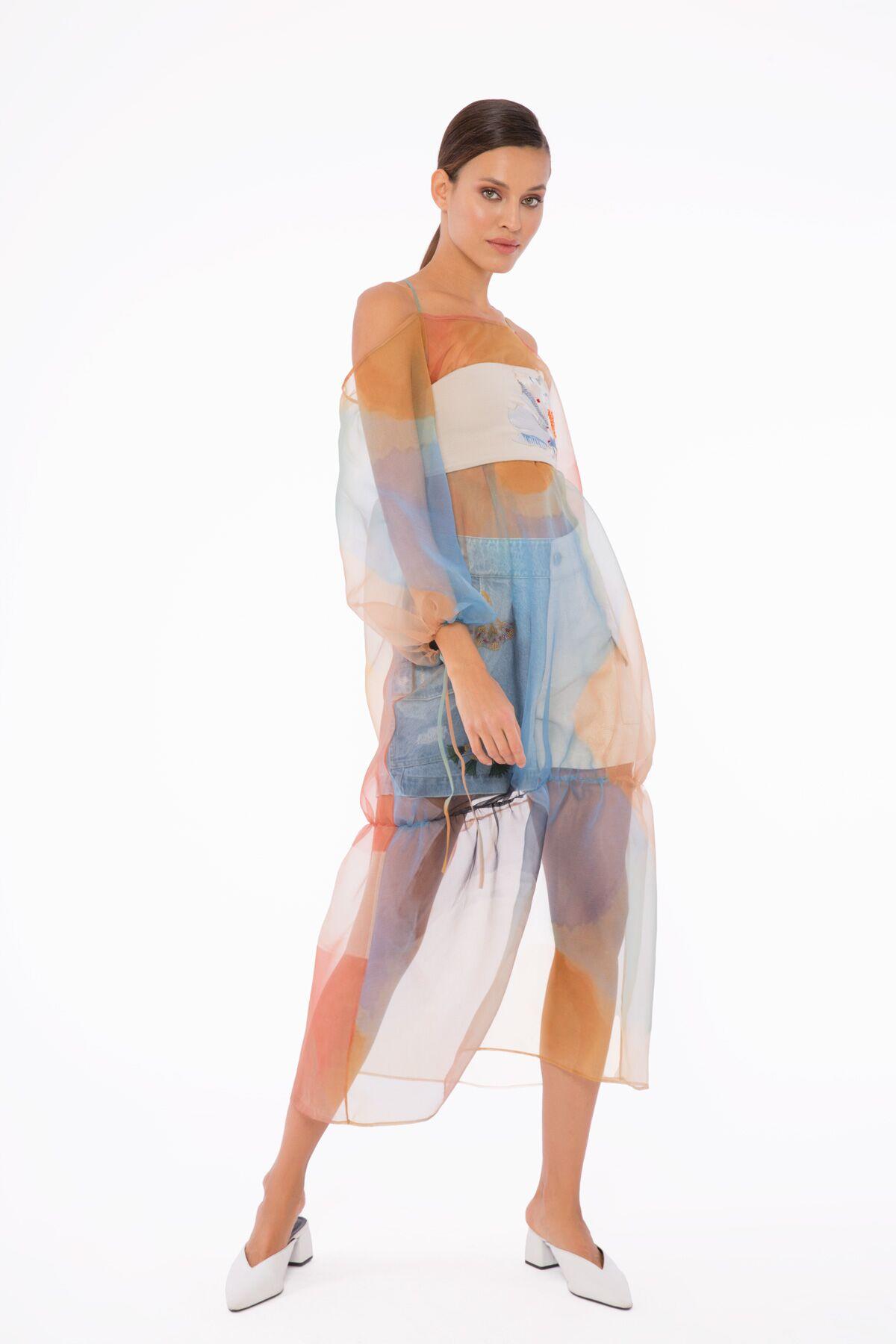Pastel Desenli, Nakış Detaylı Top' Lı Organze Elbise