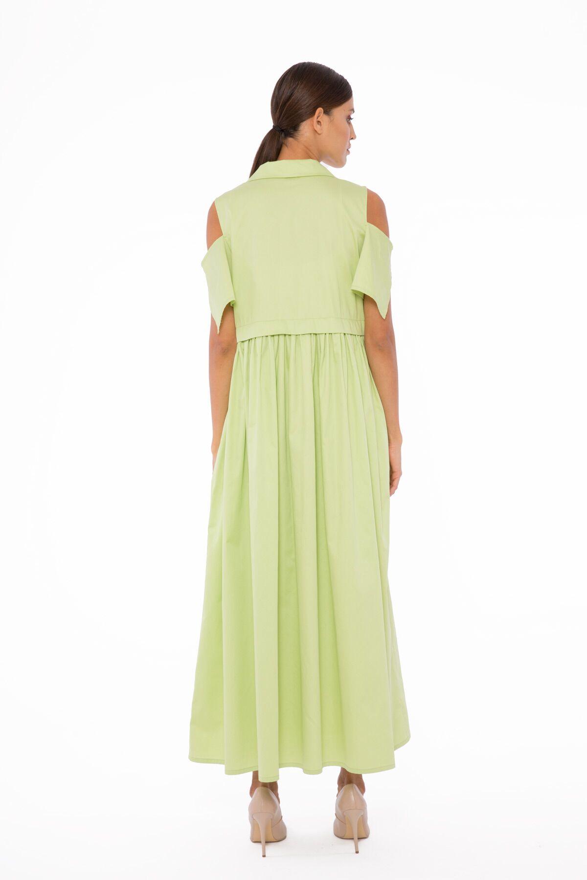 Nakış Detaylı Büzgülü Poplin Elbise