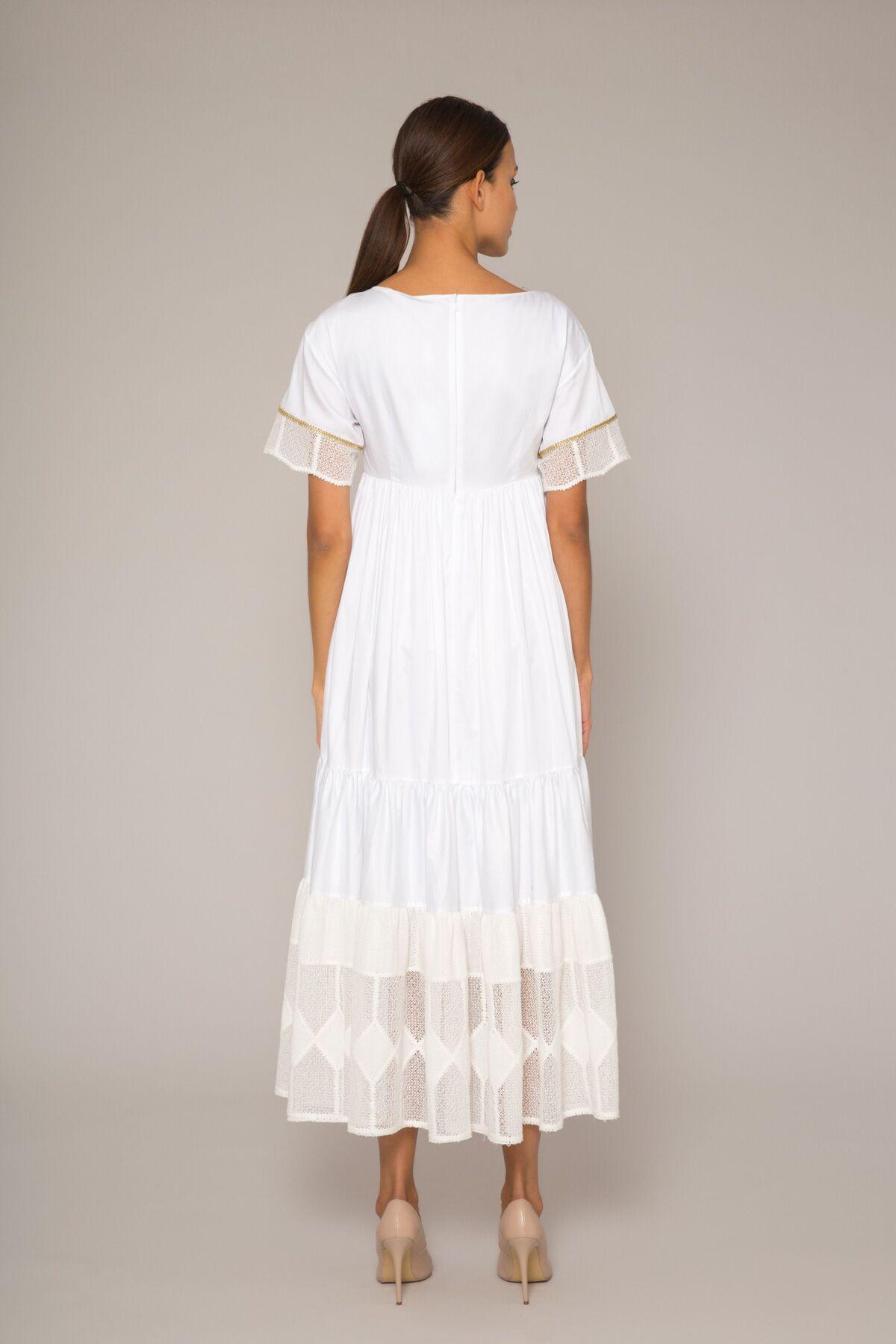 Dantel Garnili, Nakış Detaylı Poplin Elbise