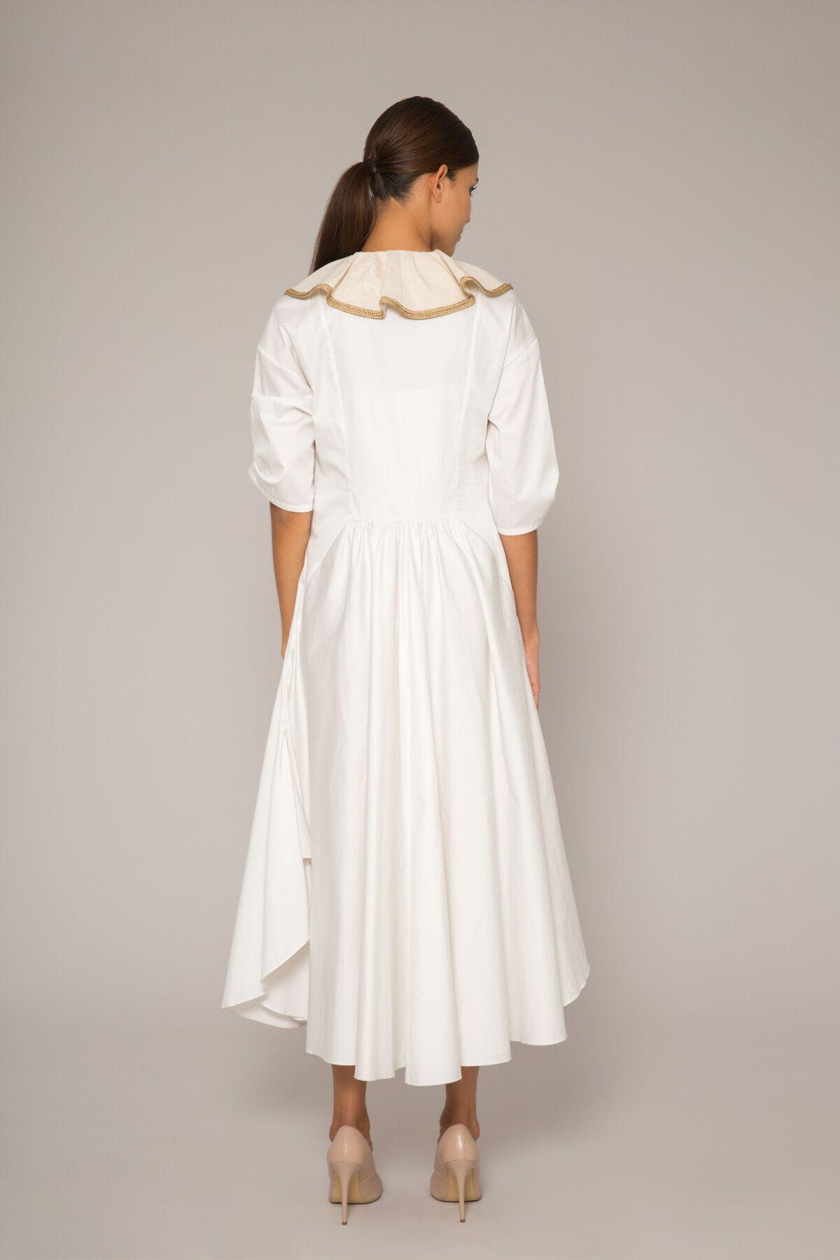 Keten Hareketli Yaka Detaylı, Poplin Elbise