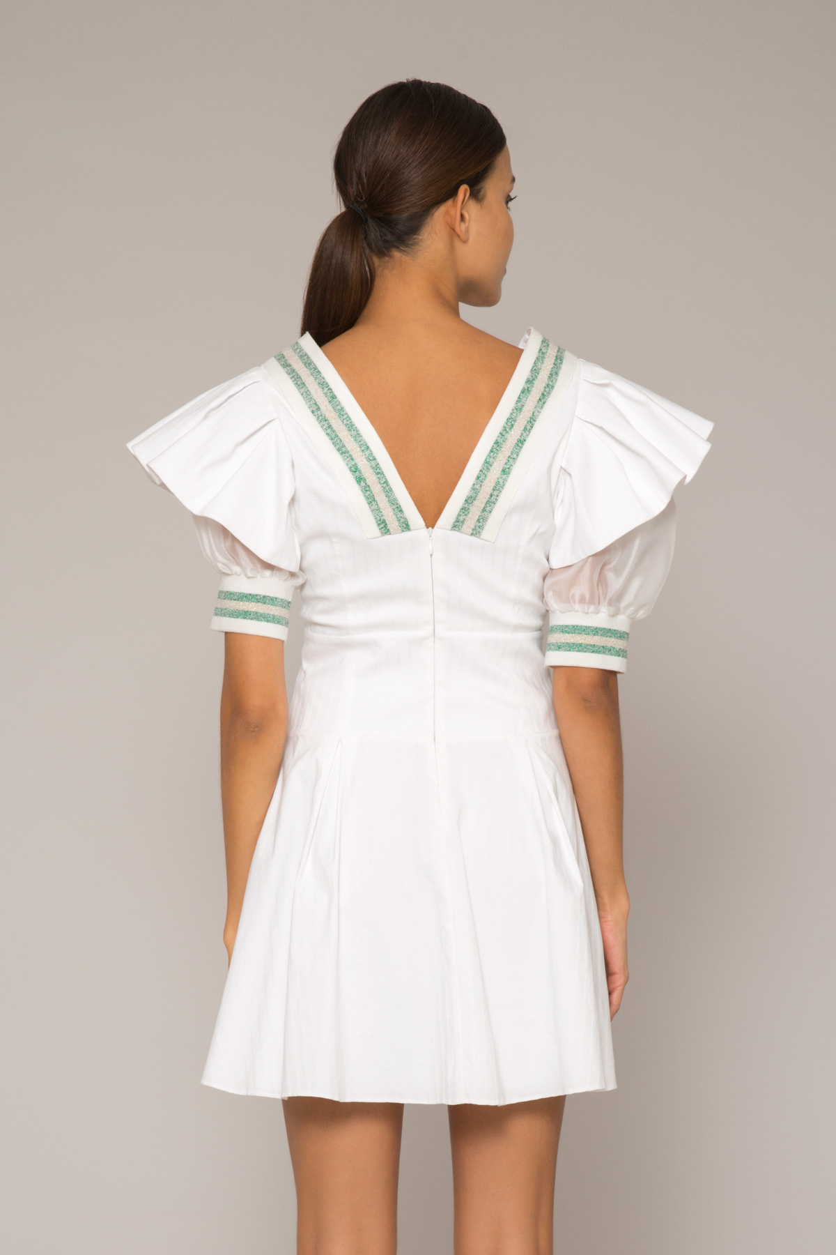 Pileli Kol Detaylı, Organze Kollu Triko Şeritli Poplin Elbise