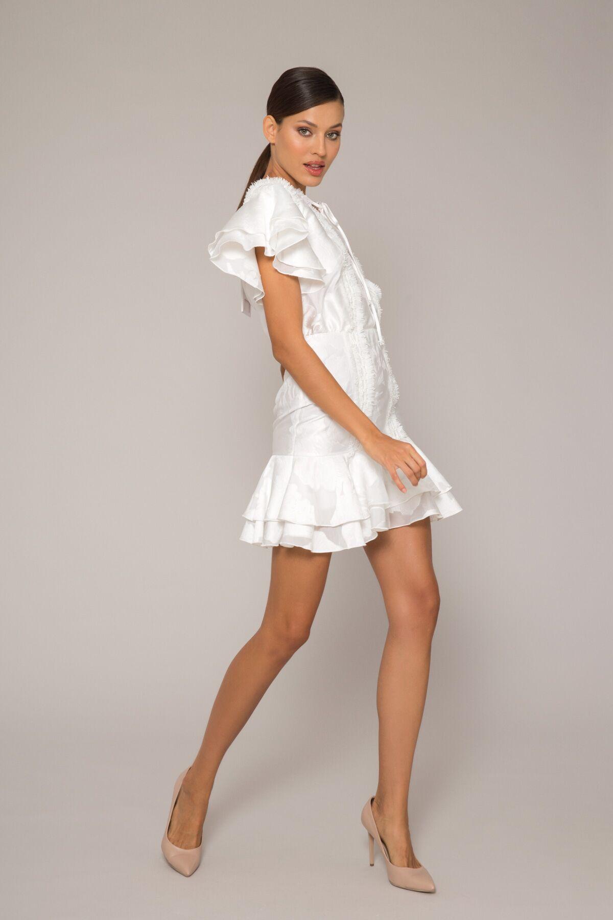 Şerit İşleme Detaylı Mini Dar Elbise