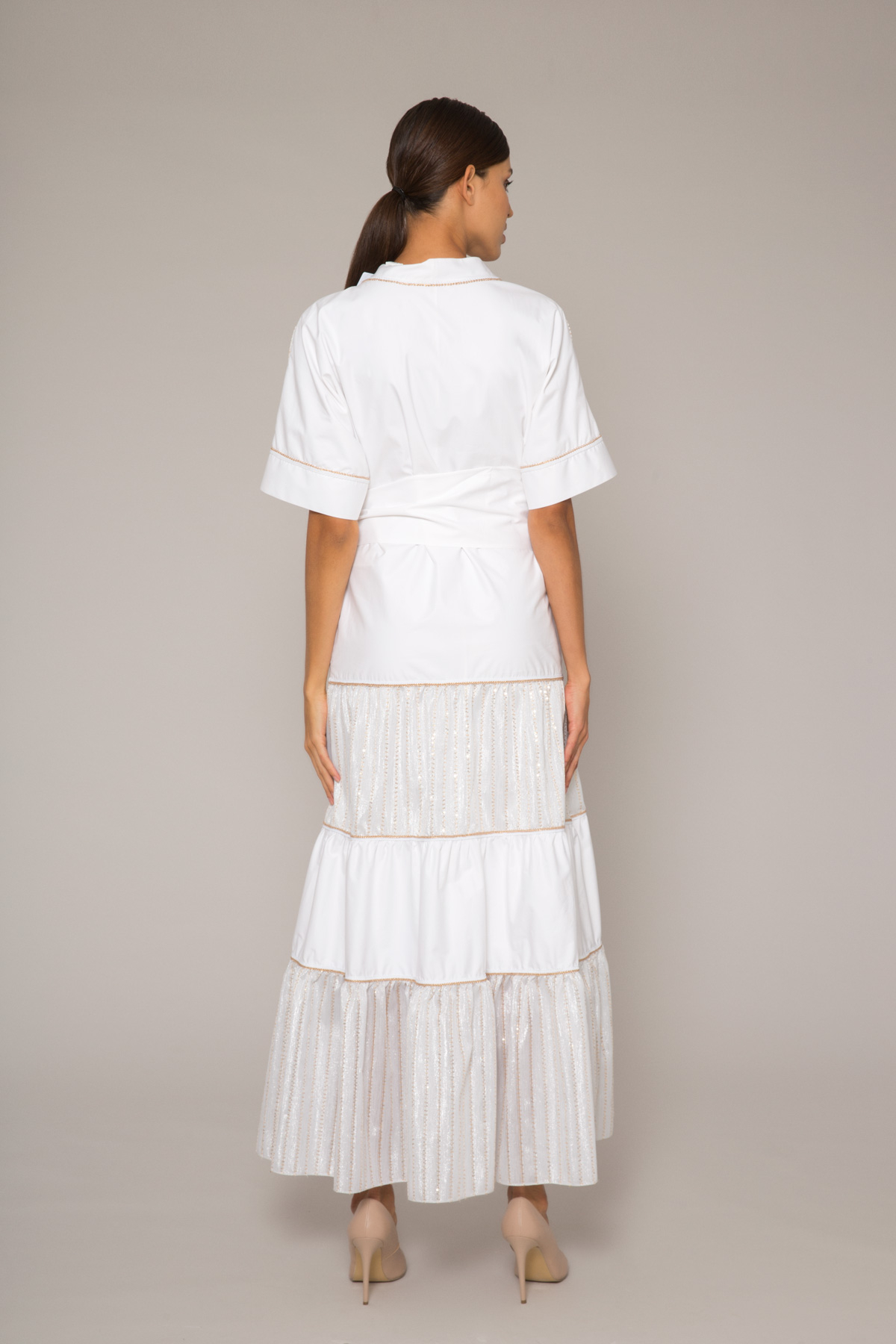 Simli Çizgili V Yaka Kuşaklı Poplin Büzgülü Uzun Elbise