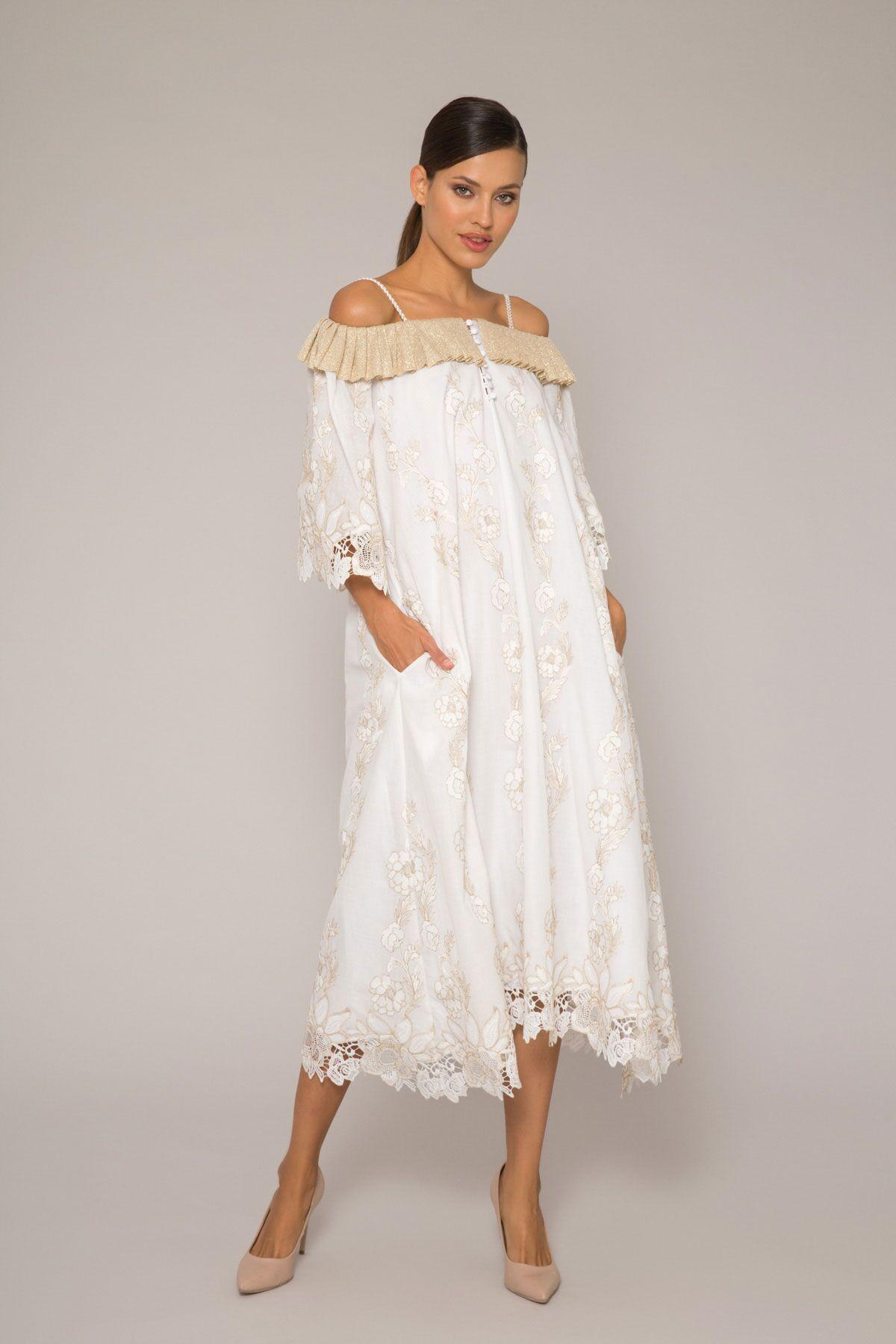 Triko Detaylı Nakış İşlemeli Elbise