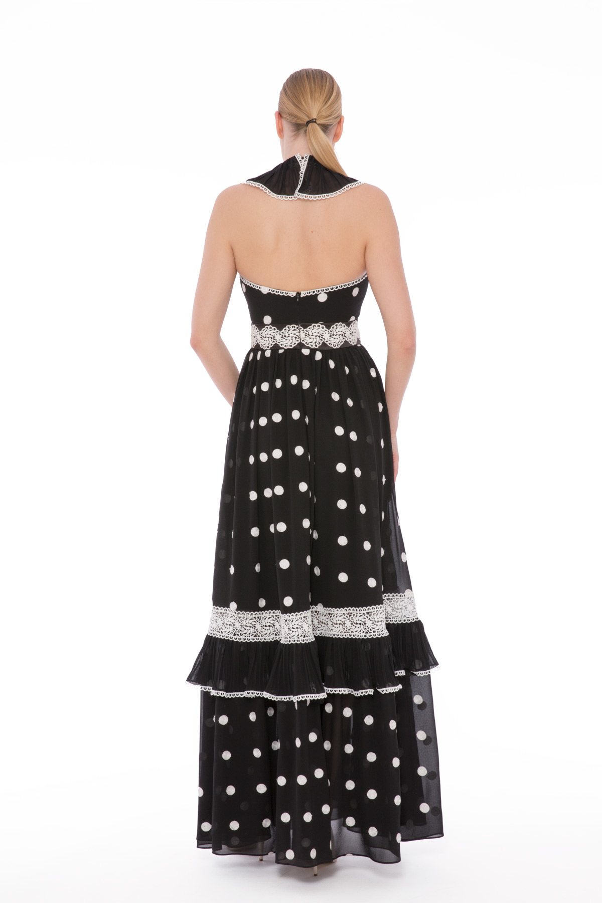 Fırfırlı, Şerit Dantelli Uzun Puanlı Elbise