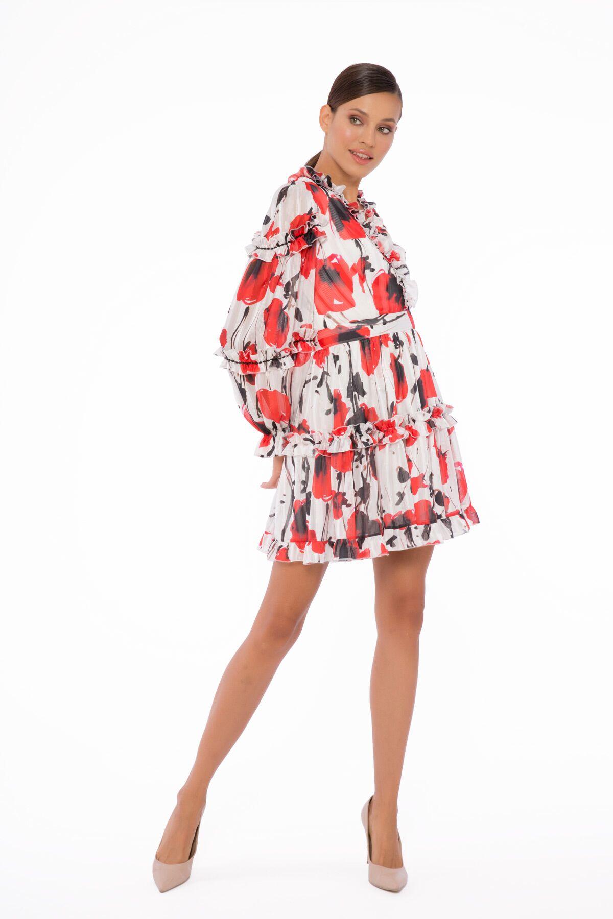 Fırfırlı, Karpuz Kollu Mini Boy Büzgülü Elbise