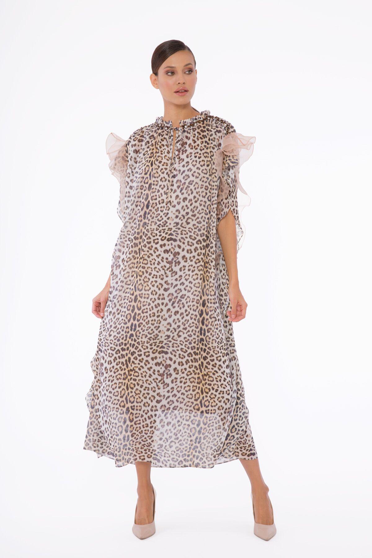 Organze Volan Detaylı, Boncuk Ve Taş İşlemeli, Şifon Leopar Elbise