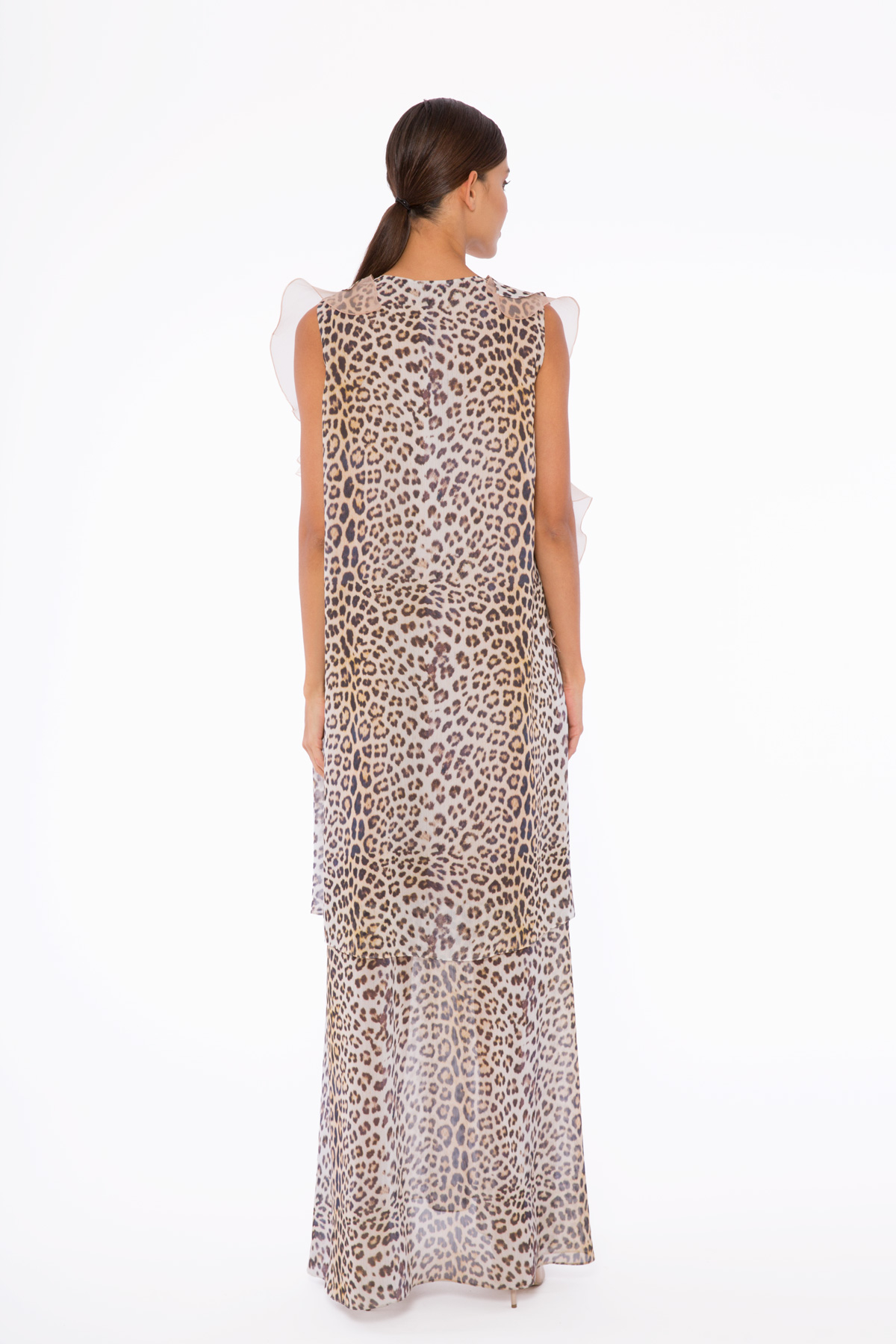 Boncuk Ve Taş İşlemeli, Organze Volan Detaylı, Katlı Leopar Şifon Elbise