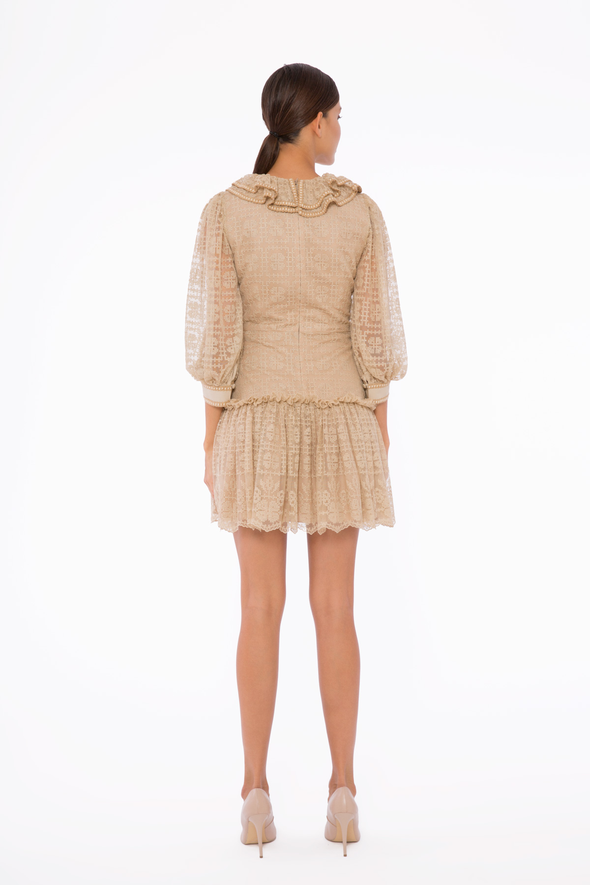 Şerit Detaylı, Yakası Volanlı, Mini Dantel Elbise