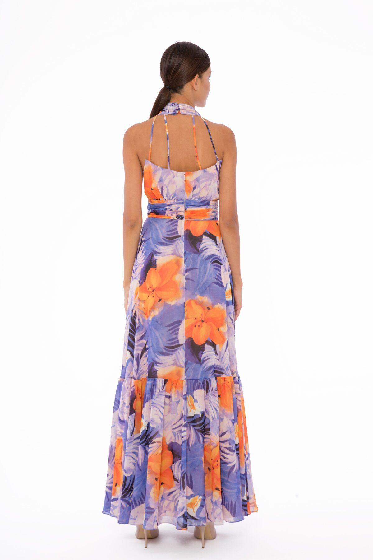 Boyundan Bağlamalı Desenli Şifon Elbise