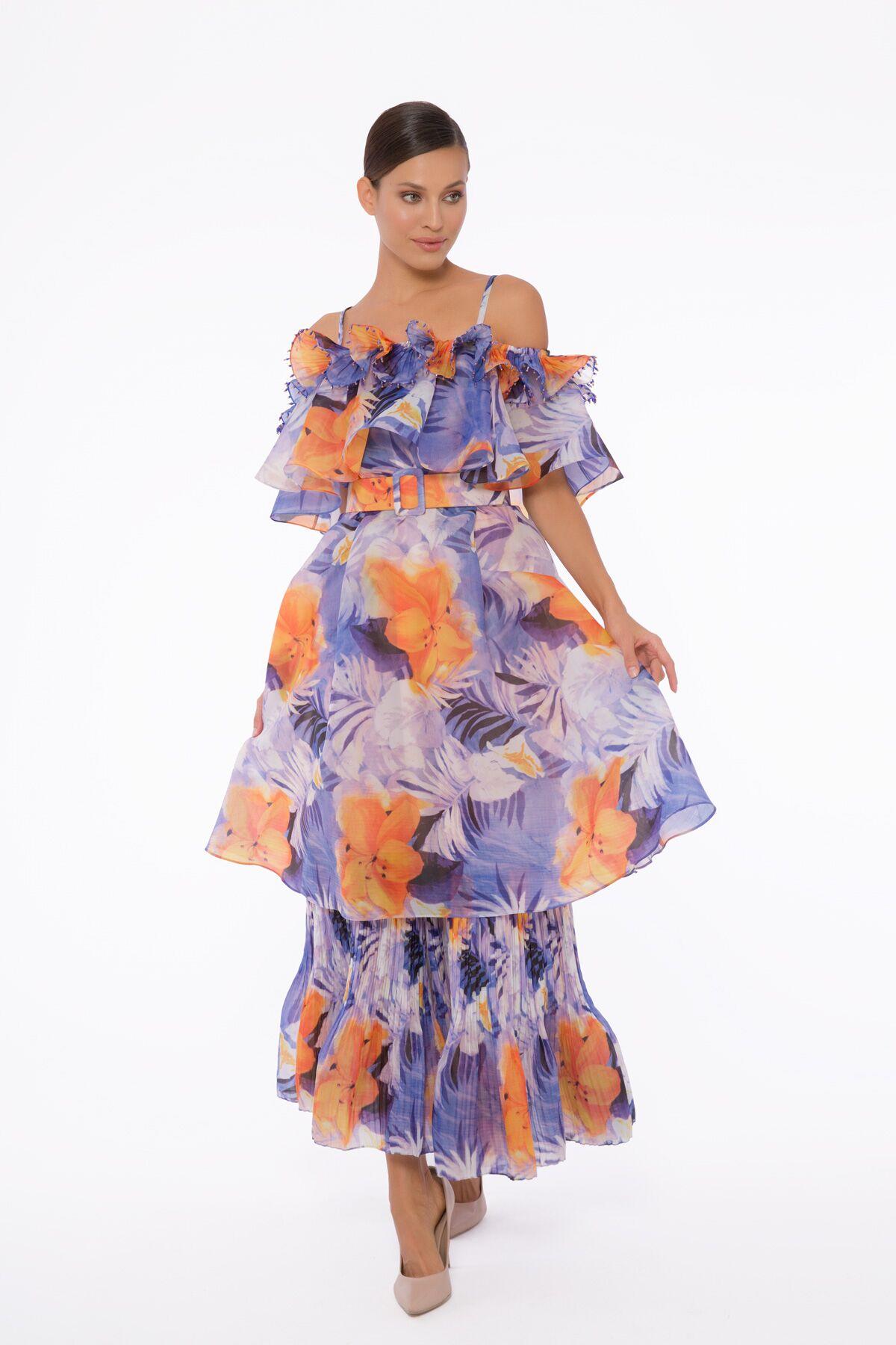 İşleme Ve Fırfır Detaylı, Katlı Etekli, Kemerli Rahat Kesim Elbise