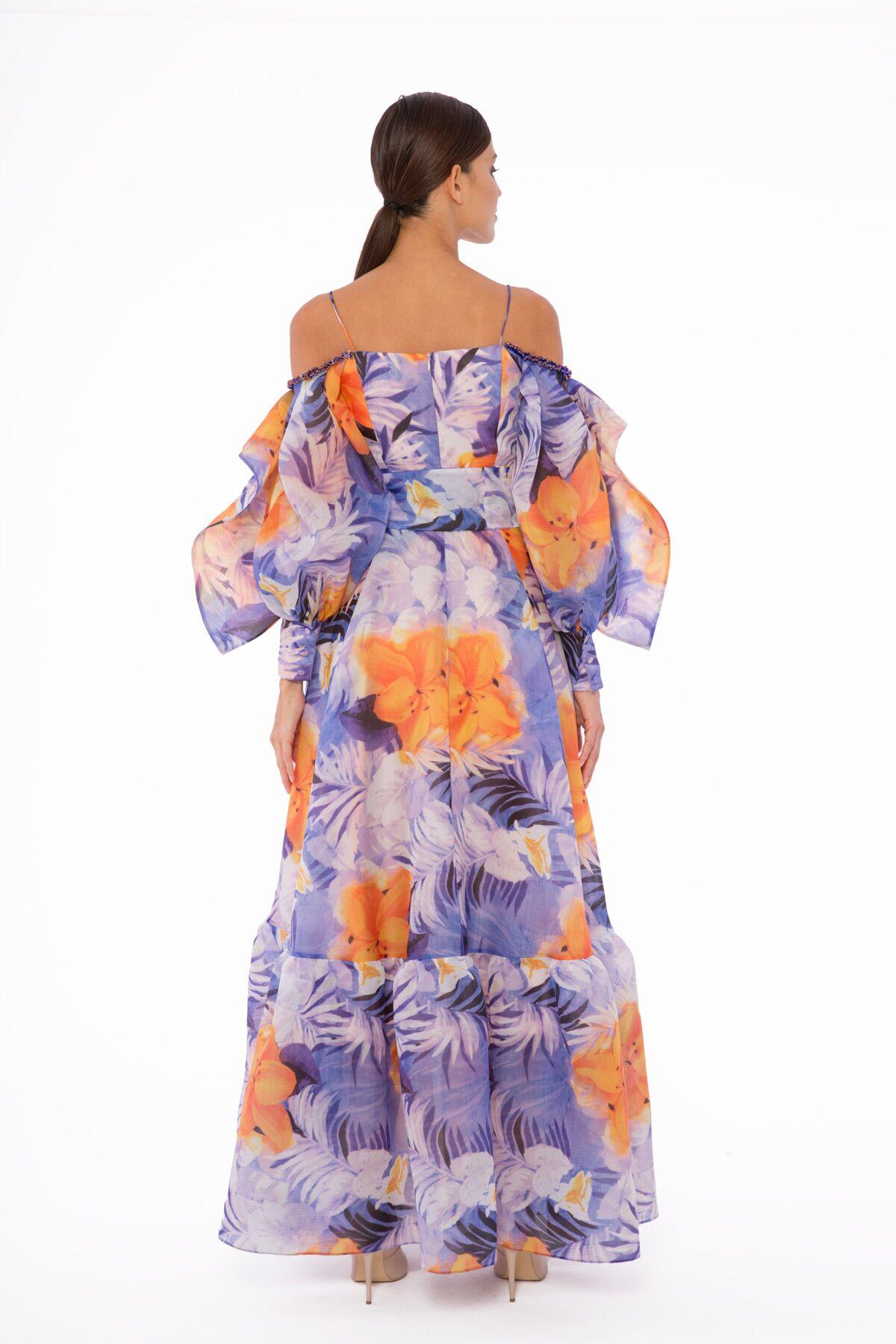 Omuzları Açık, İp Askılı, Uzun Balon Kol Organze Uzun Kollu Elbise
