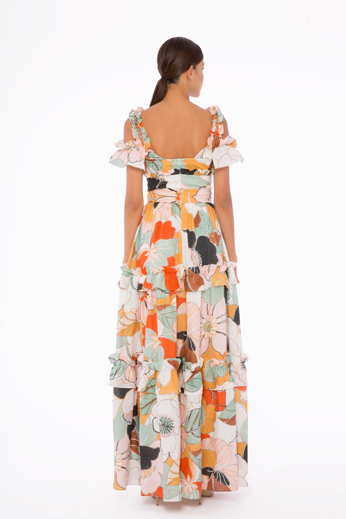 Fırfır Detaylı, İşlemeli, Desenli Uzun Elbise