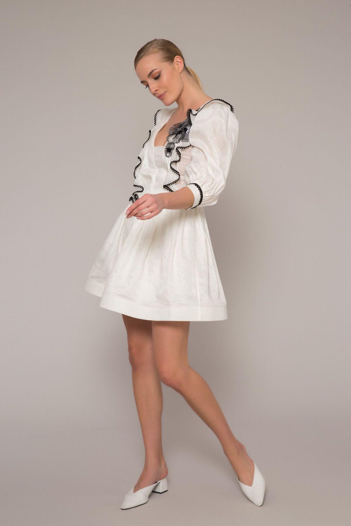 Kontrast Çiçek Ve Şerit Detaylı Mini Elbise