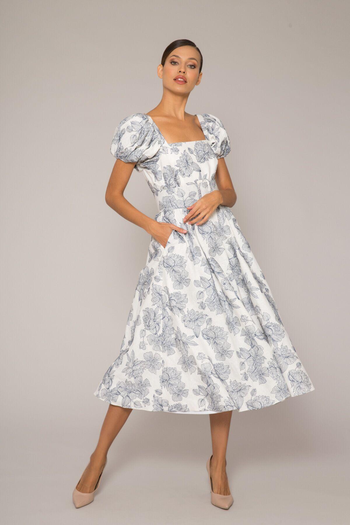 Kolları Hacimli Midi Elbise