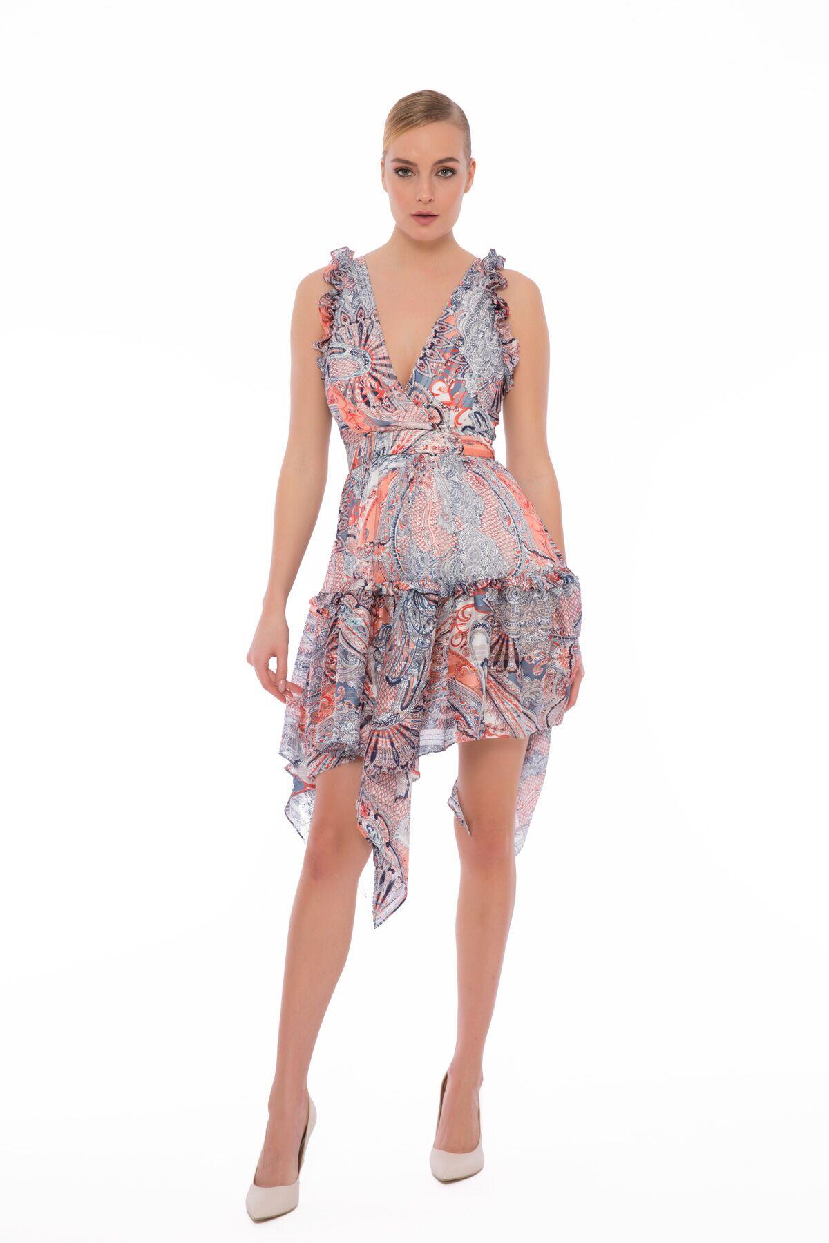 Etek Ucu Mendil Kesim Fırfırlı Mini Elbise