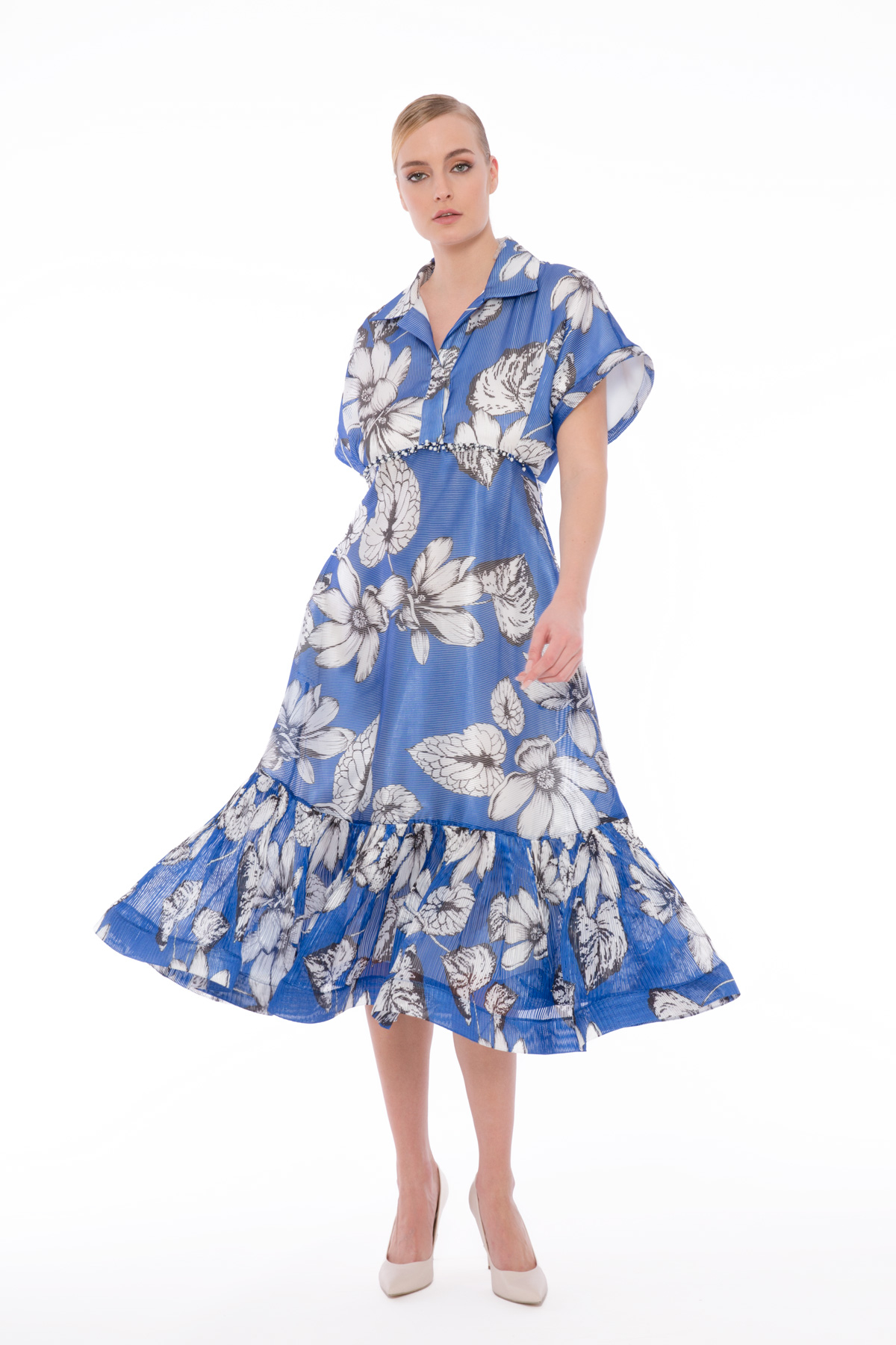 Transparan Çiçekli Elbise