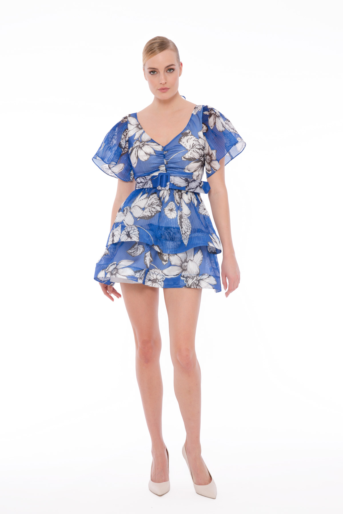 Godeli Transparan Çiçekli Mini Elbise