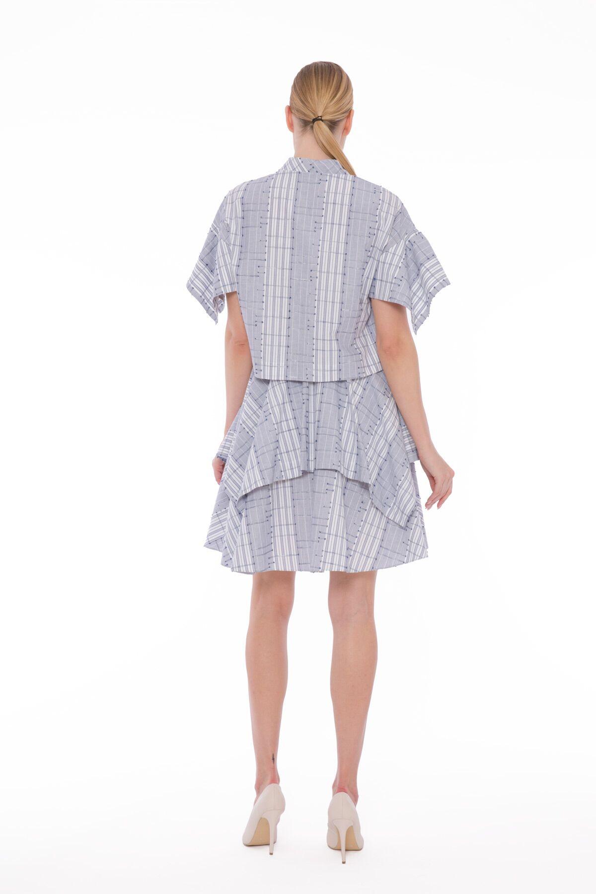 Etek Ucu Mendil Kesim, İşlemeli Gömlek Elbise