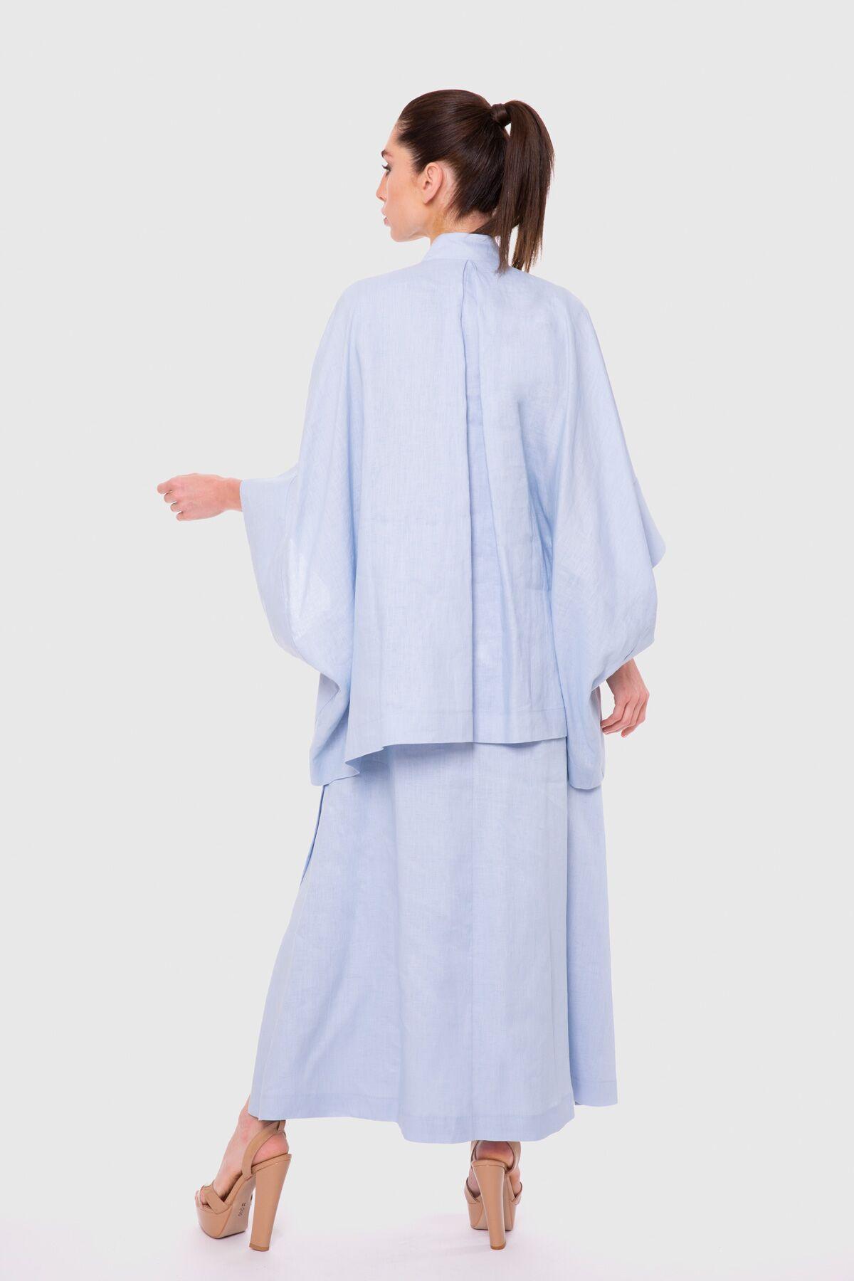 İşleme Ve Fırfır Detaylı Yarasa Kollu Katlı Uzun Elbise
