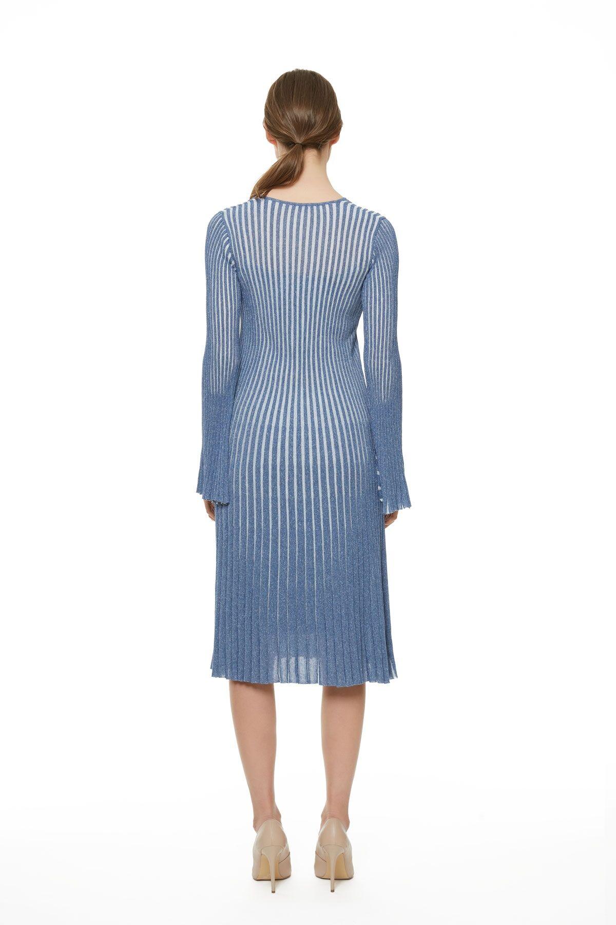 Metalik Çizgili Triko Mavi Çan Elbise