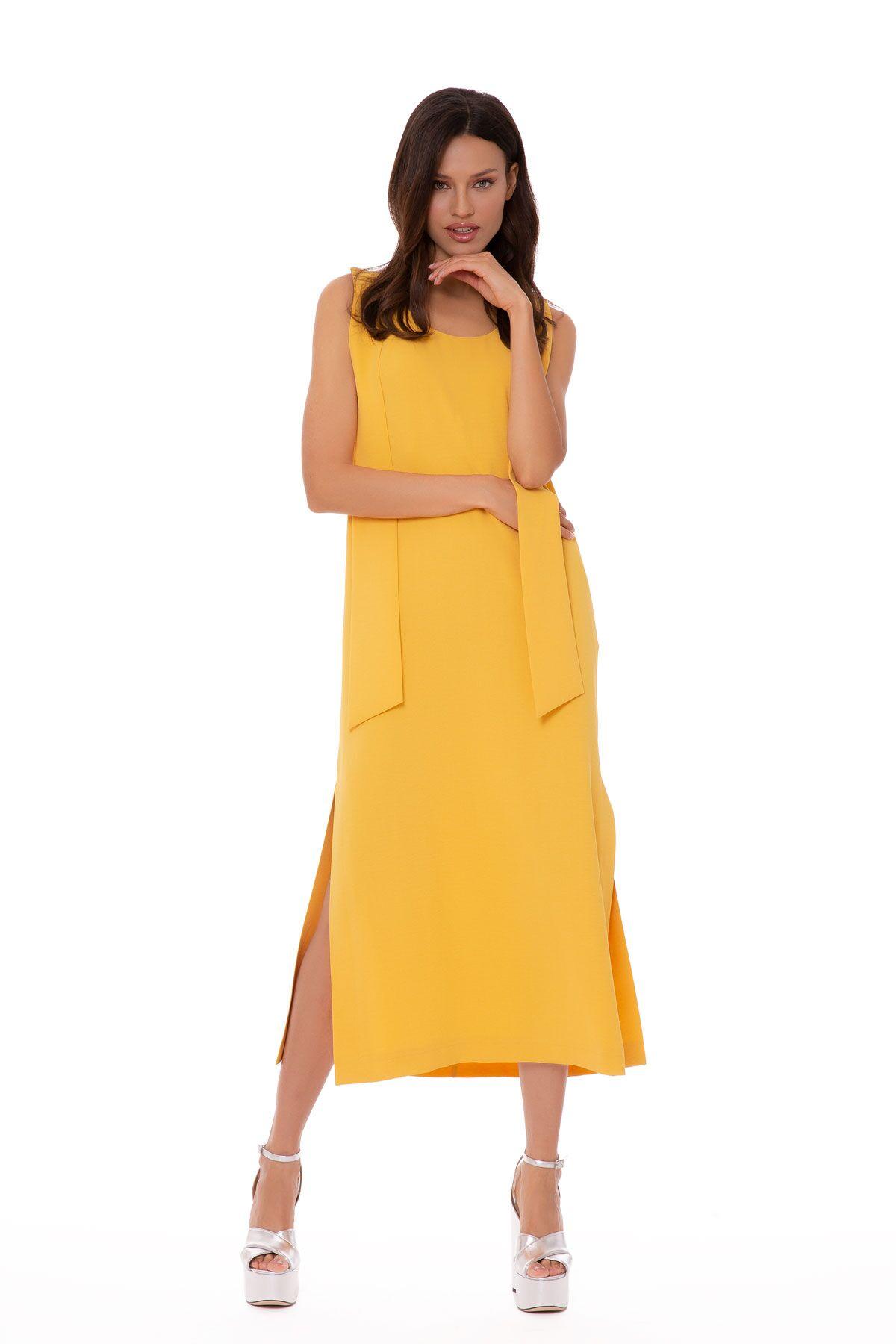Omuzdan Kuşak Detaylı Kolsuz Elbise