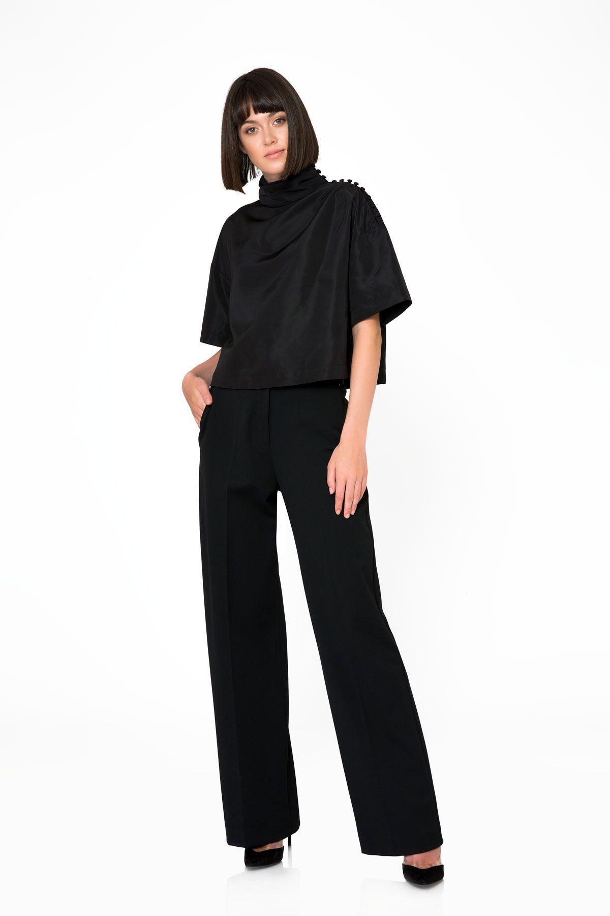 Yüksek Bel Siyah Kumaş Pantolon