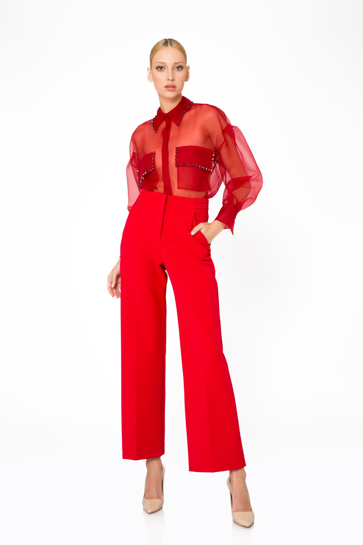 Cep Detaylı Yüksek Bel Kırmızı Pantolon