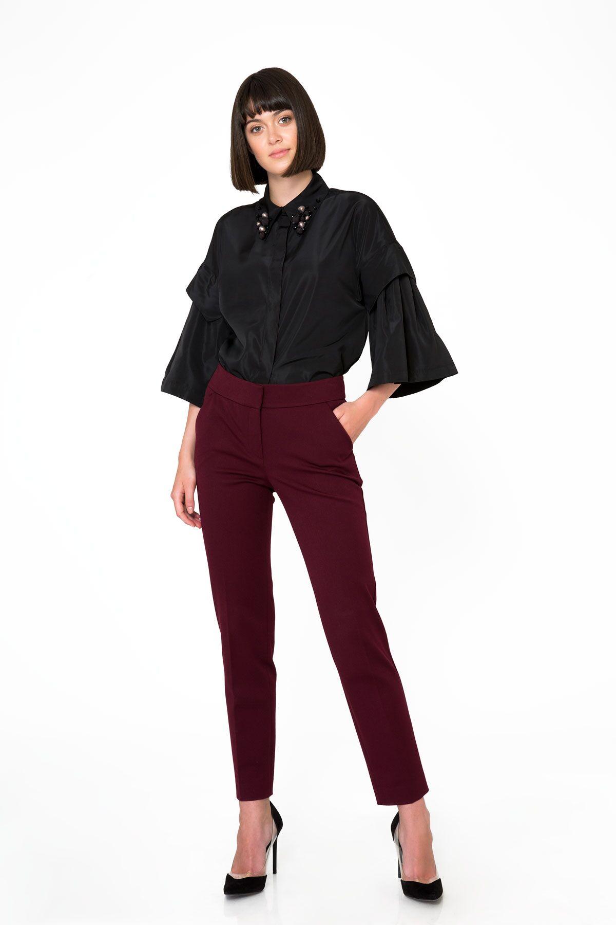 Bordo Renkli Kumaş Pantolon