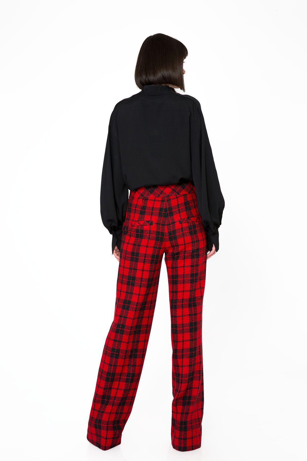 Ekose Desenli Yüksek Bel Kırmızı Pantolon