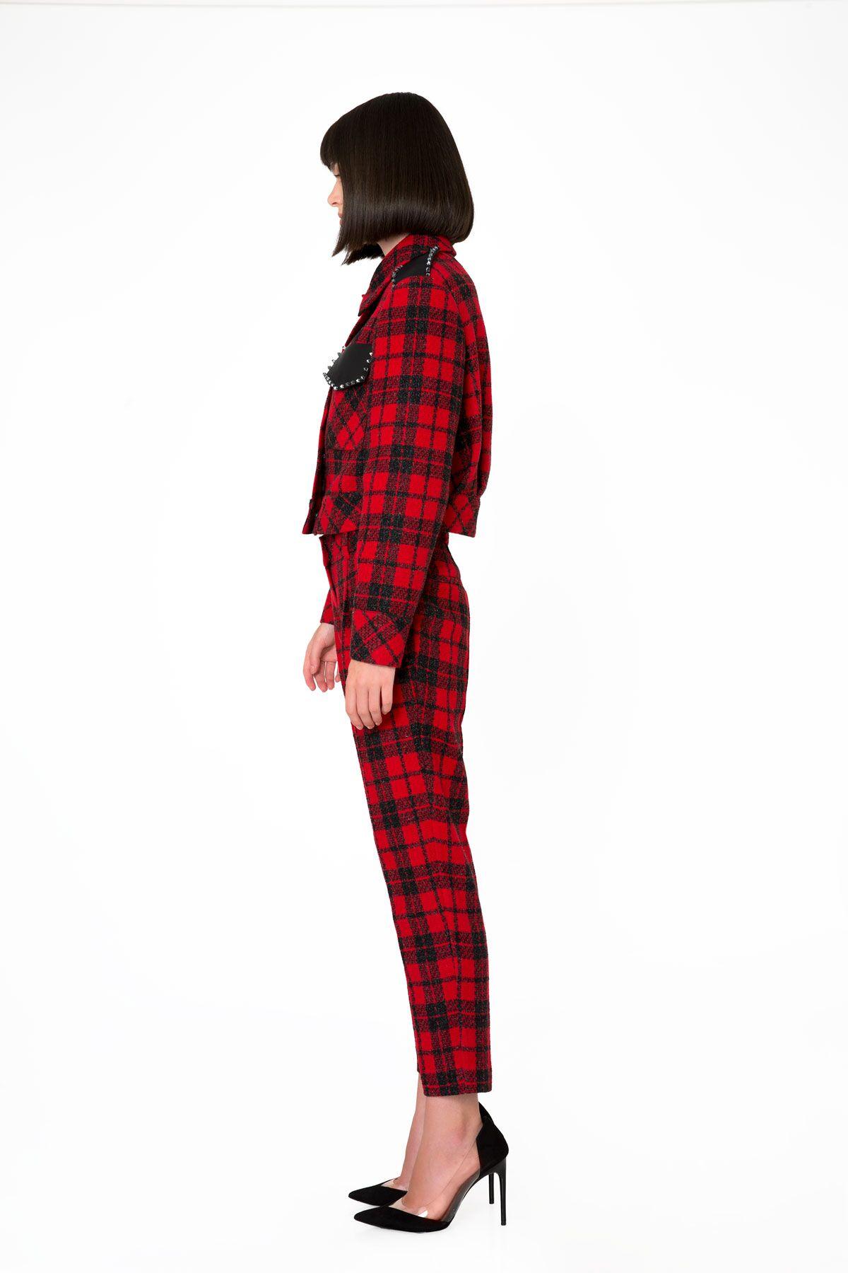 Ekose Desenli Bilek Boy Kırmızı Pantolon