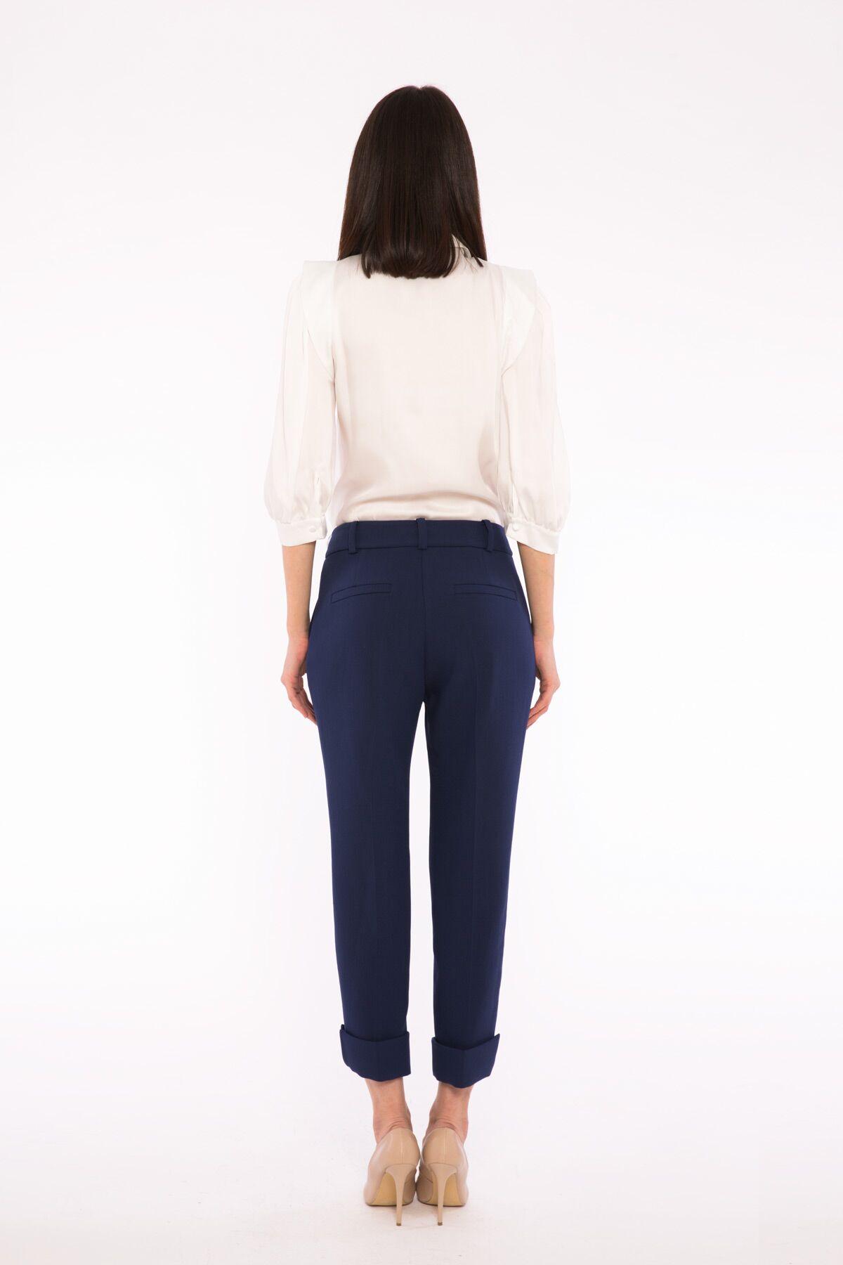 Paça Detaylı Lacivert Bilek Bol Pantolon