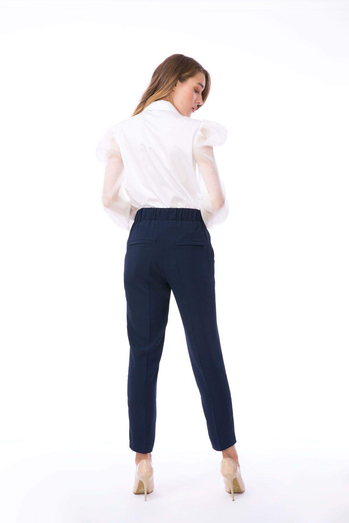 Havuç Kesim Bağcıklı Lacivert Kumaş Pantolon