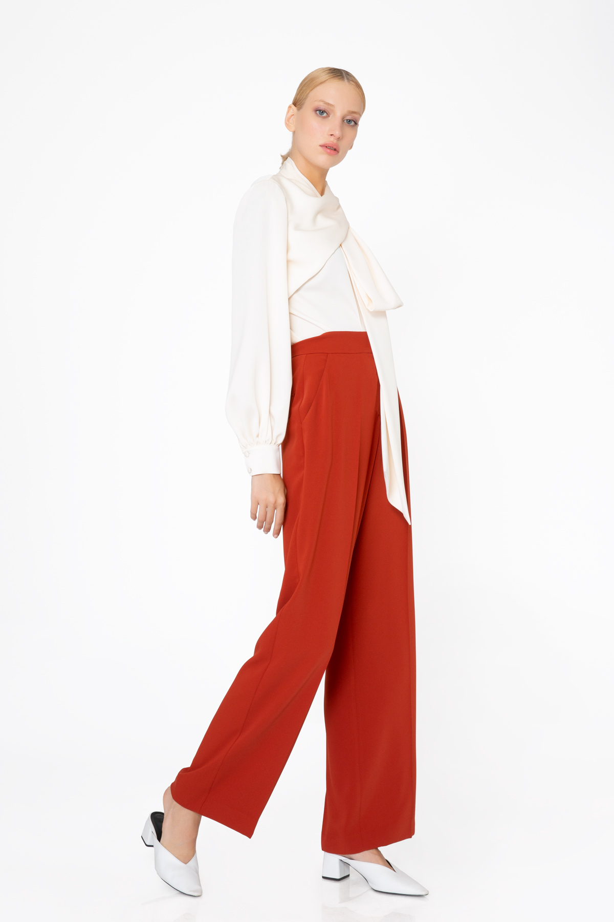 Yüksek Bel Bol Paça Kiremit Rengi Pantolon
