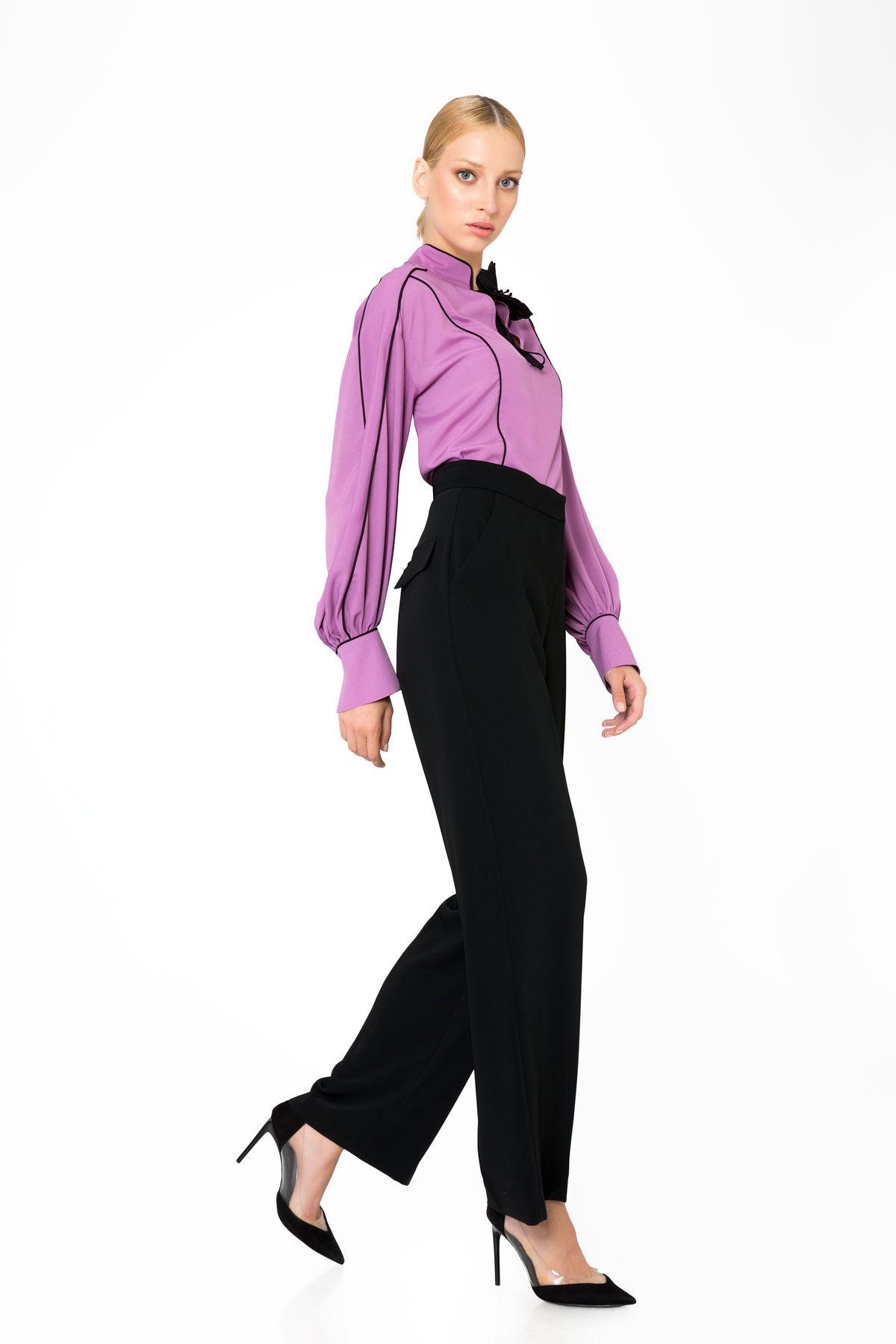 Yüksek Bel Bol Paça Siyah Pantolon