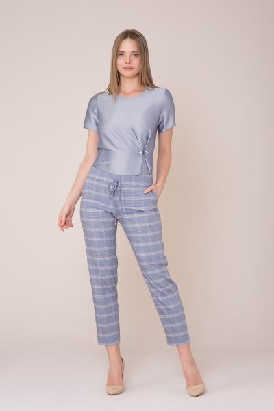 GIZIA CASUAL - Mavi Ekose Pantolon