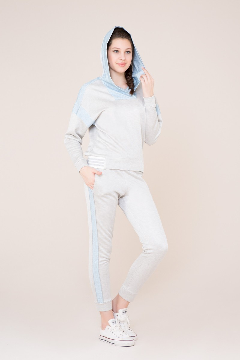 Mavi Şerit Detaylı Gri Spor Pantolon